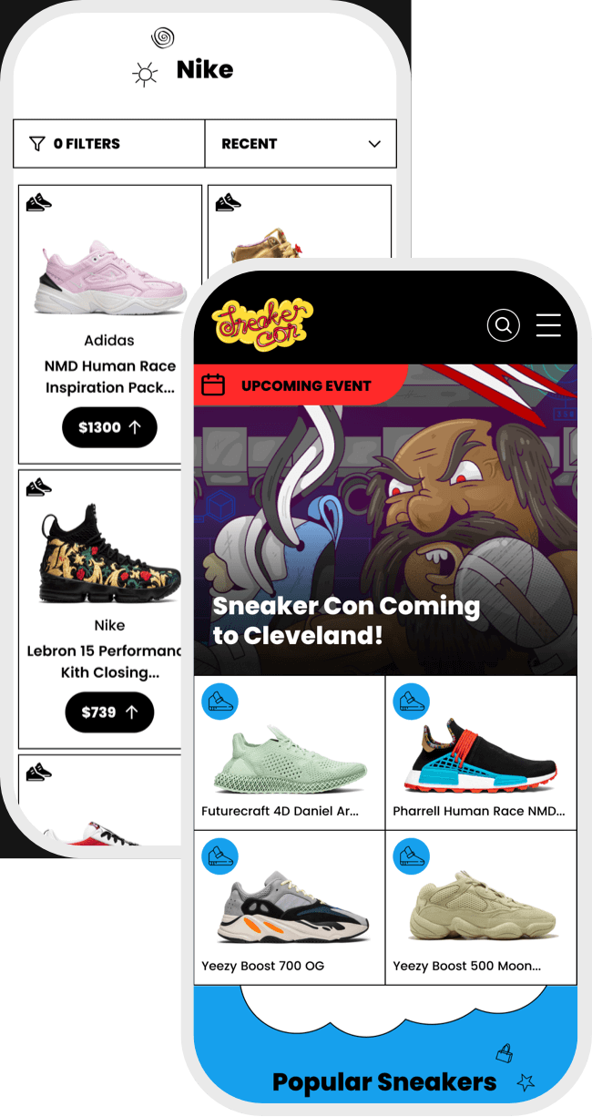 Sneaker Con mobile product design image