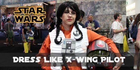 X-Wing pilots attire consists of an orange jumpsuit, a white vest with a chest box, black leather boots and matching gloves, a silver-gray harness and a helmet.