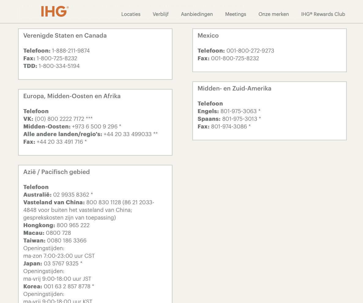 Voorbeeld hoe Interncontental Hotel Group haar telefonische bereikbaarheid aanpakt.