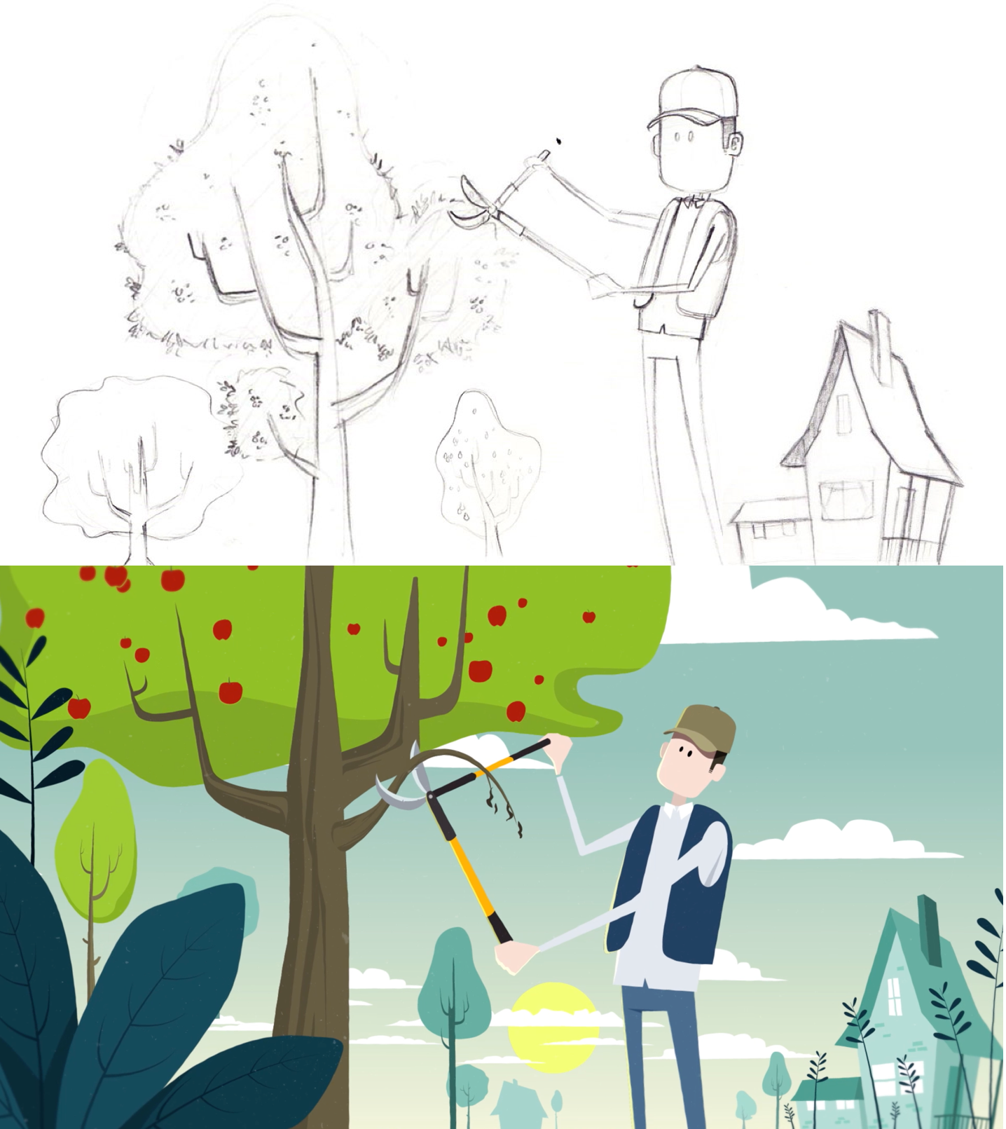 Sketch and illustration taken from a scene from the motion design video about apple trees diseases.