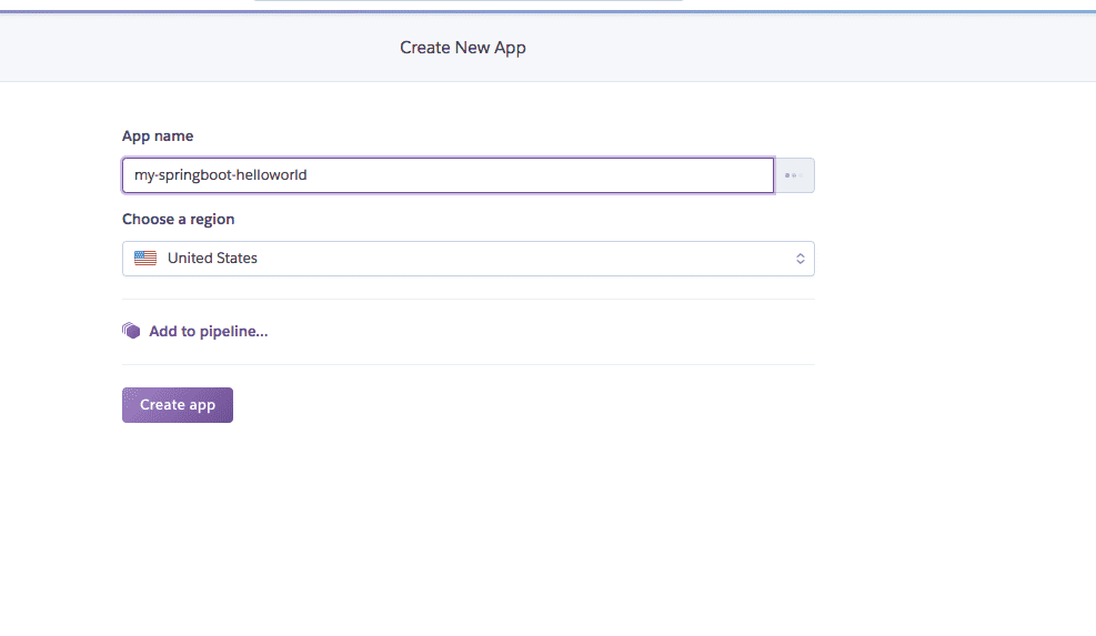 Heroku: create new app