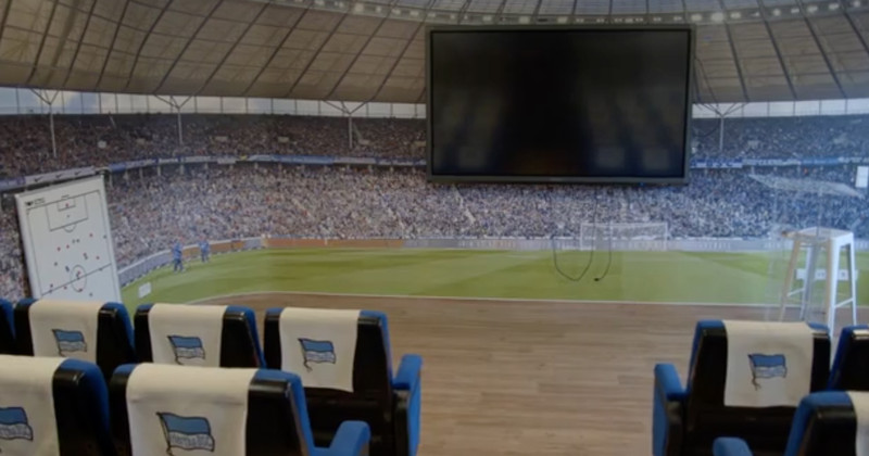 The viewing suite, where Hertha's players and staff analyse game footage