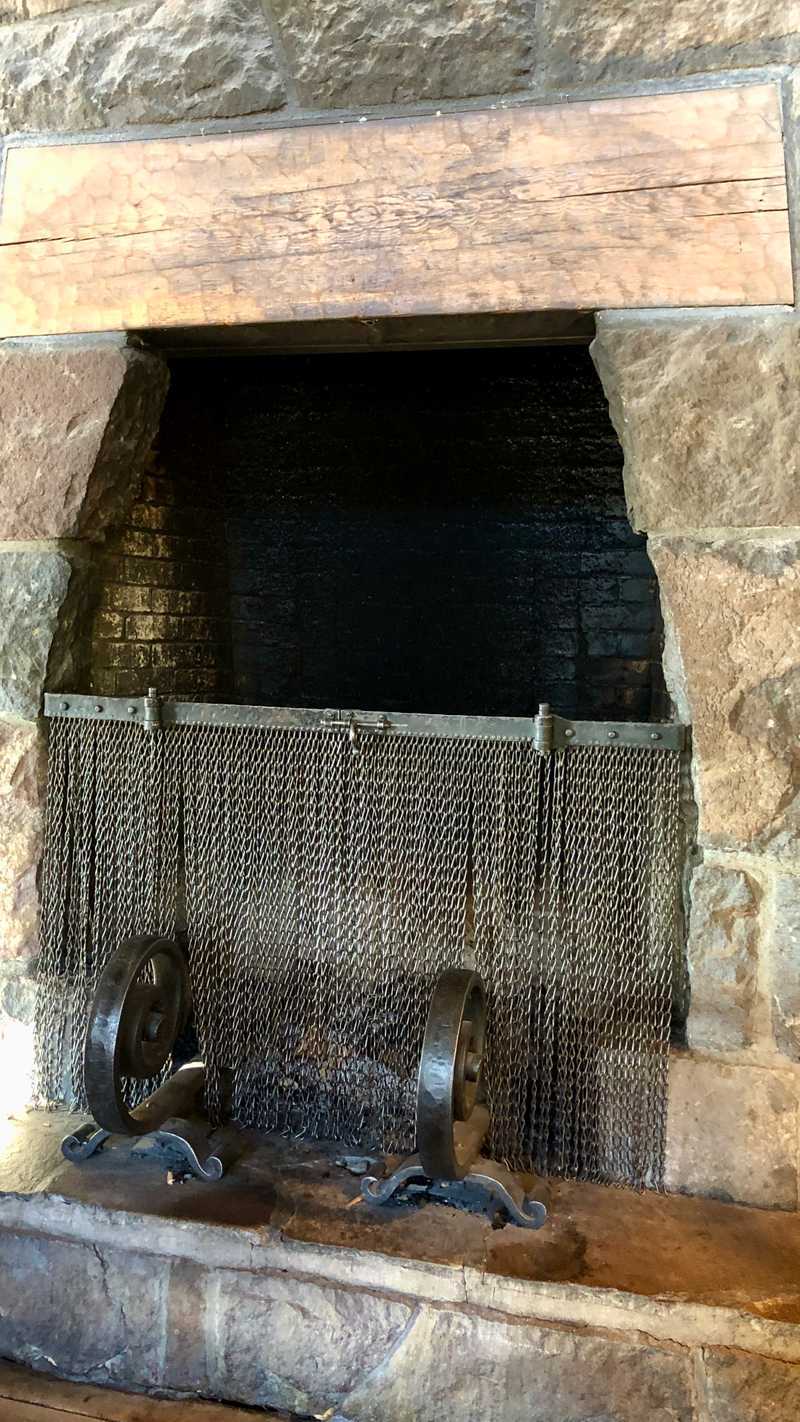 A fireplace in Timberline Lodge