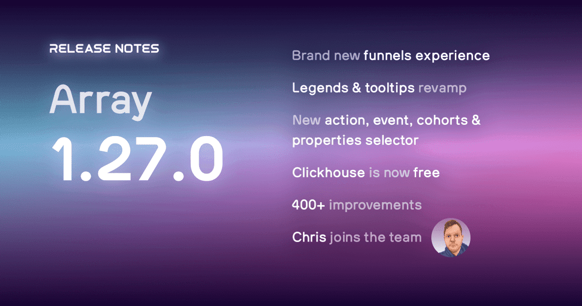 PostHog 1.27.0 is here! Completely redesigned funnels experience will help you dive deeper to understand why your users aren't converting. Plus 400+ improvements & fixes.