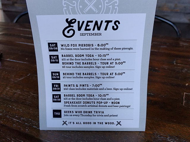 A tabletop event menu for patrons