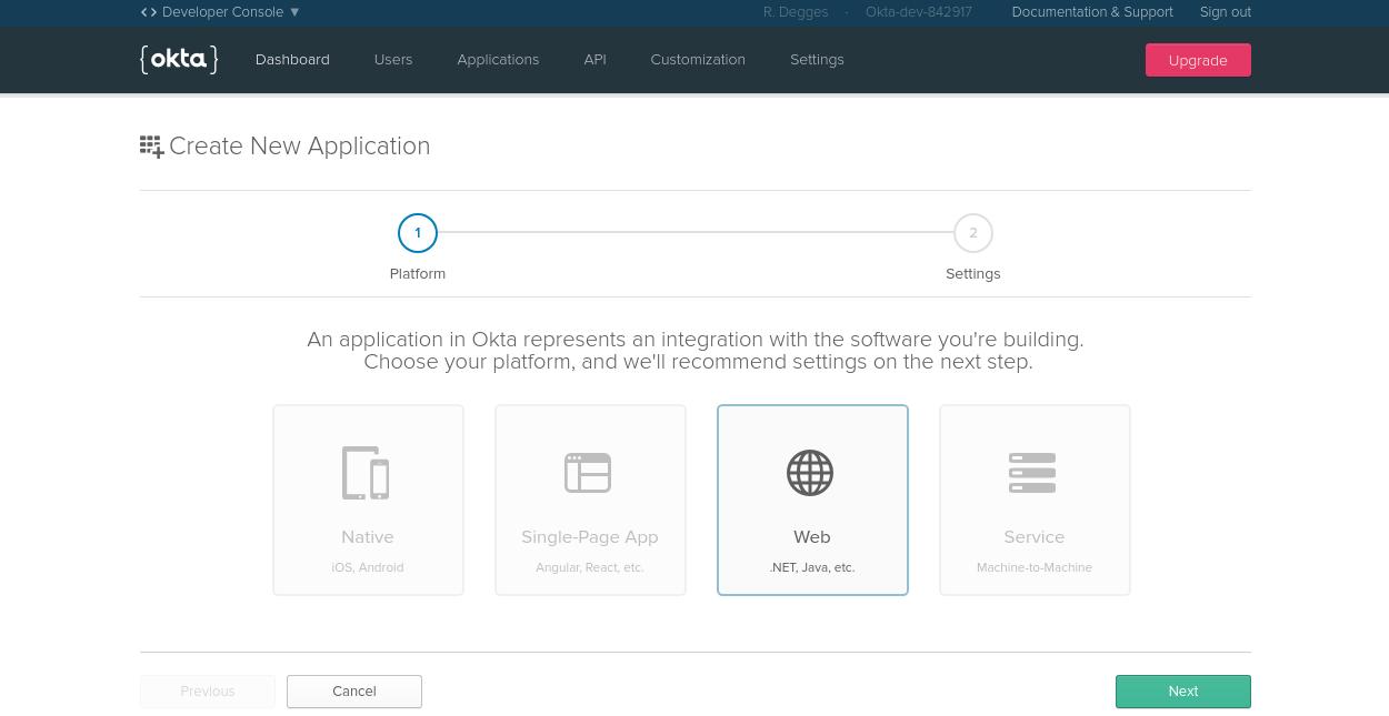 Okta Web app