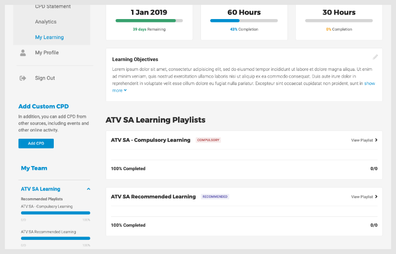 My learning overview