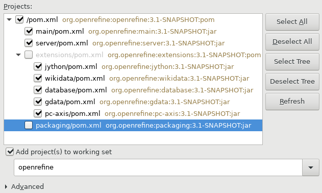 Screenshot of Select maven projects to import