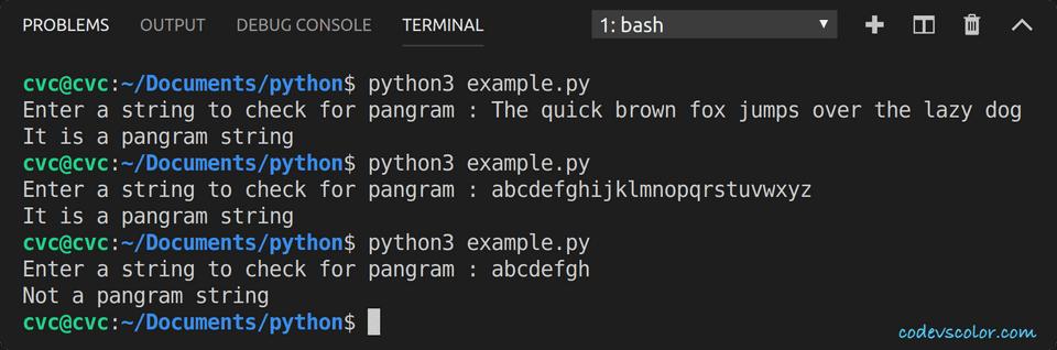 python check pangram string