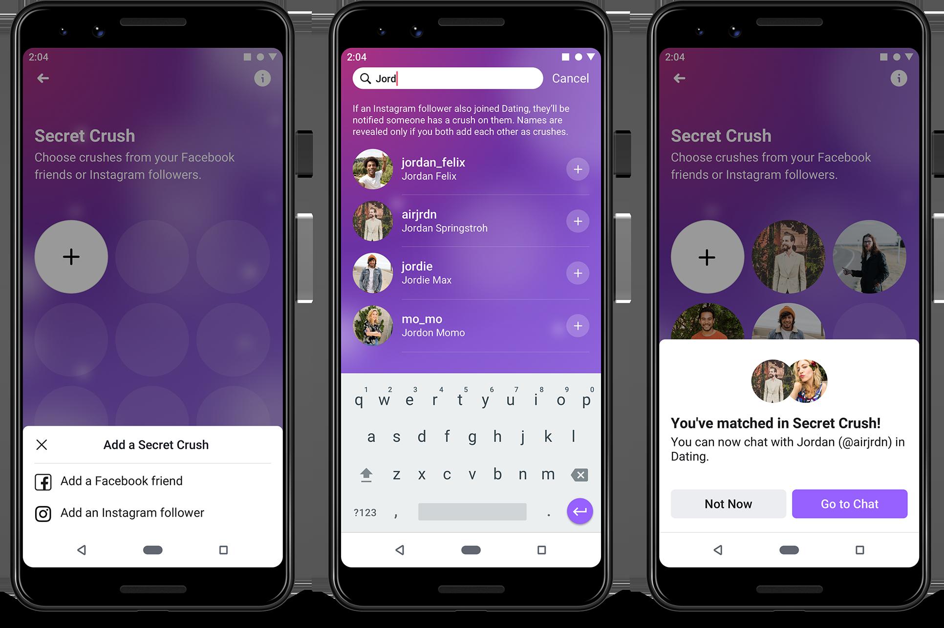 Screenshot of Facebook Dating on mobile