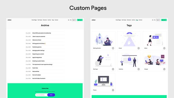Joben Ghost Theme Custom Pages