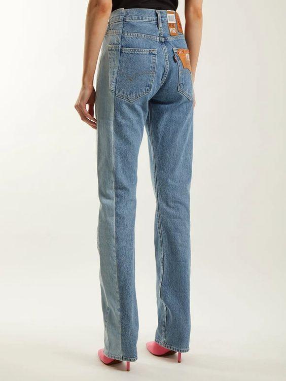 Jean bicolore long