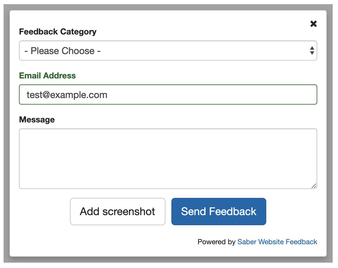 general Saber feedback form