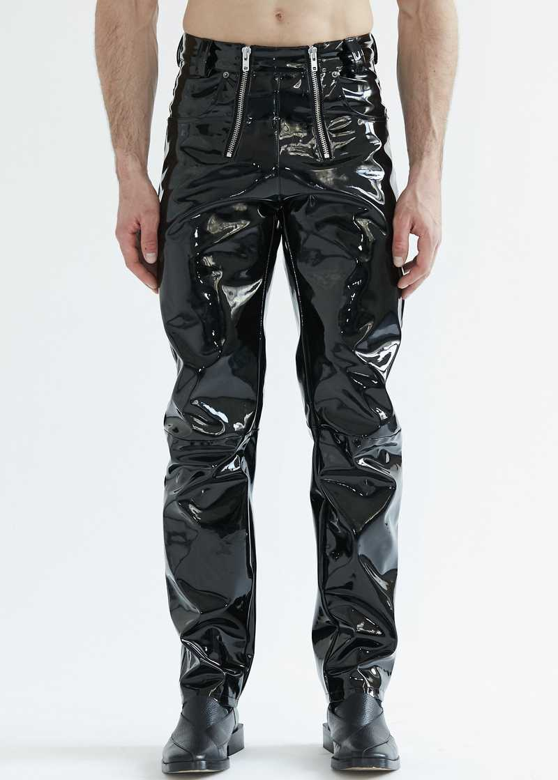 Thor vinyl trousers in black for men. GmbH SS20 collection.