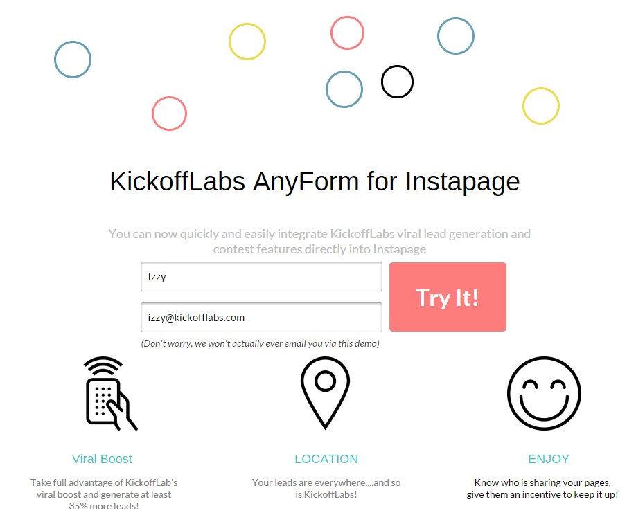 Connect KickoffLabs to your Instapage for a viral boost