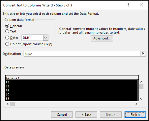 """Step three of the """"convert text to columns"""" window in Excel. The """"general"""" option has been selected and the """"finish"""" button highlighted."""