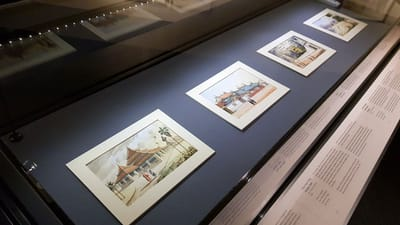 A close-up of various watercolour sketches featuring Singapore landmarks in 1800s.