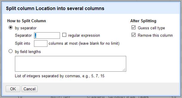 A screenshot of the settings window for splitting columns.