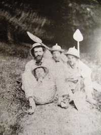 Caillebotte (right) with friends between 1877 and 1878