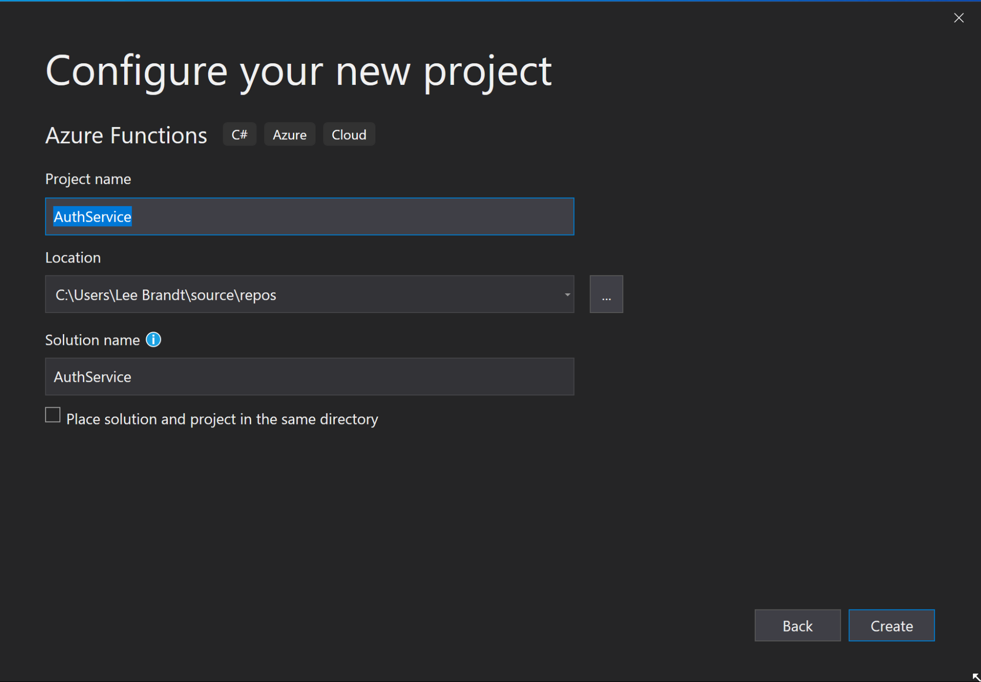 Configure Azure Function Project