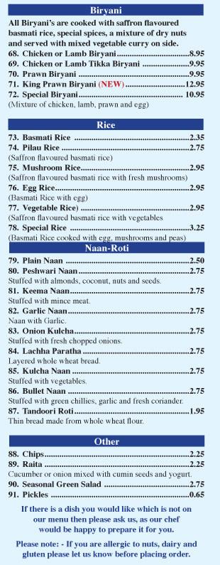 indian food menu restaurant