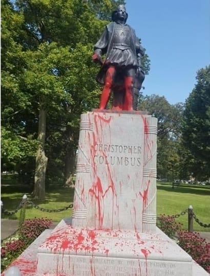 vandalized Columbus statue