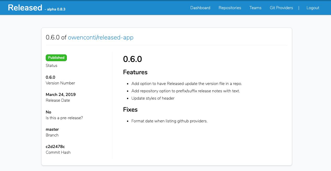 Screenshot of Released