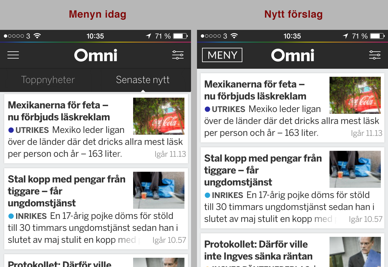 Omni's toppnavigering i mobilen