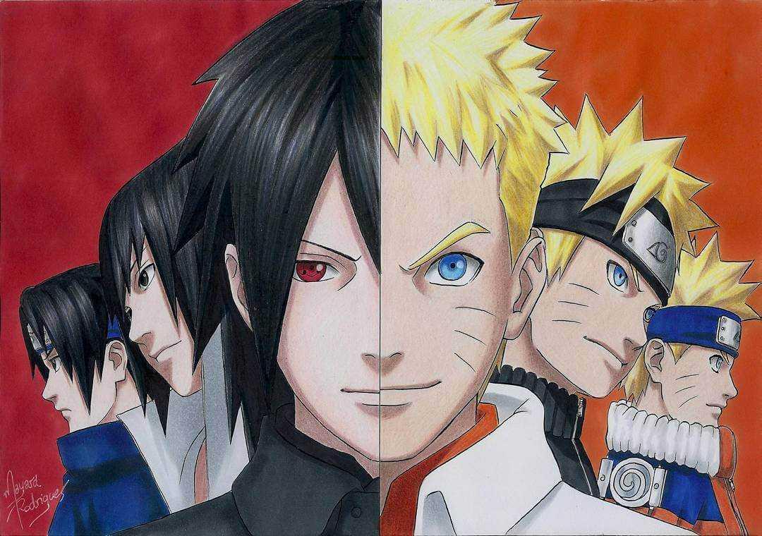 Desenho divido Naruto e Sasuke