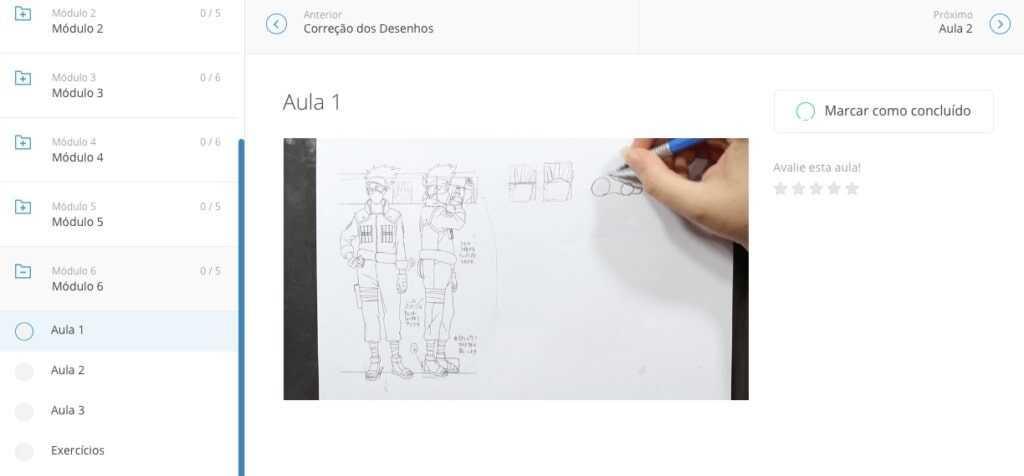 Imagem com o módulo 6 do curso, mostrando o painel do curso.