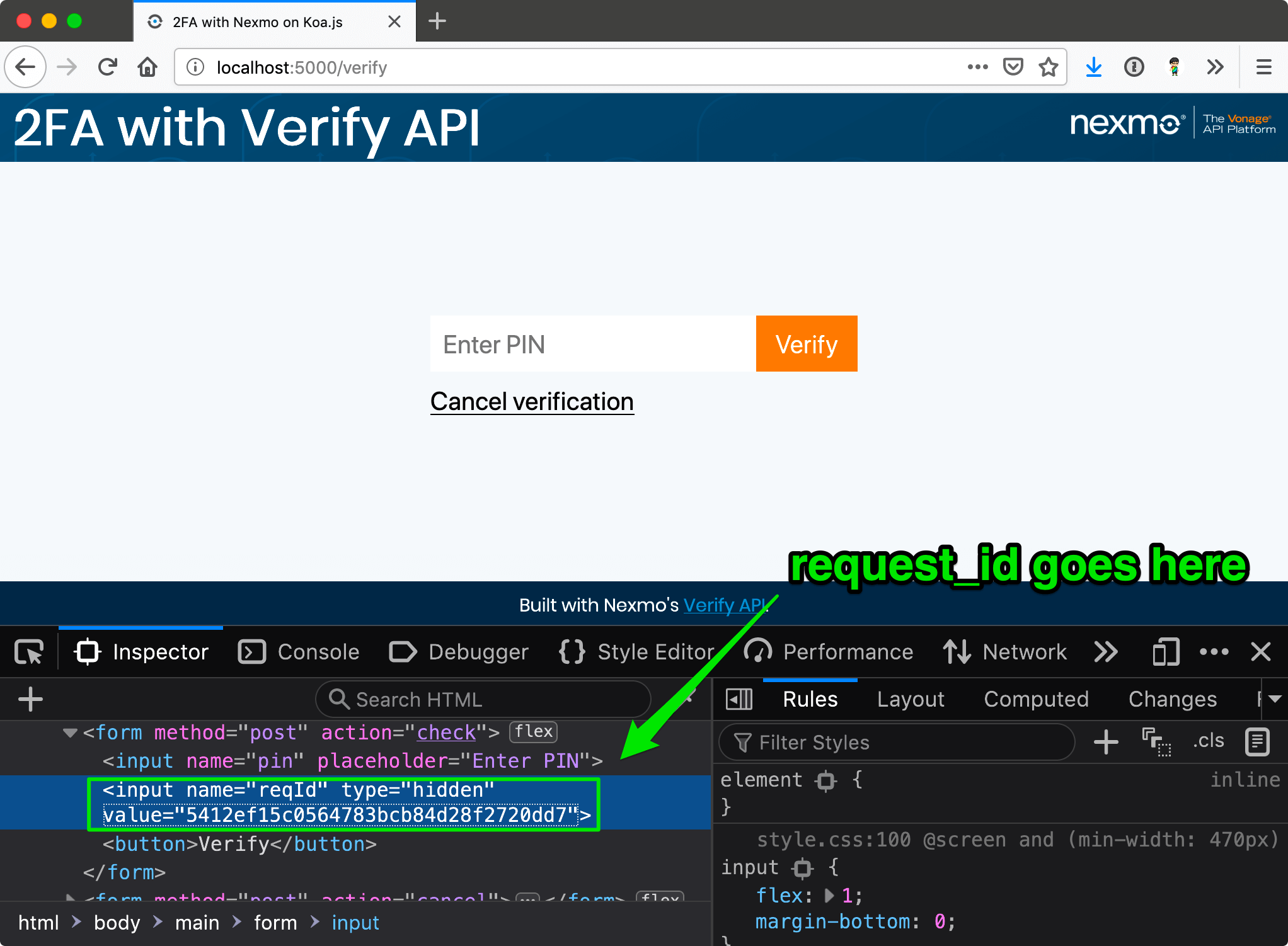 The request_id is passed to the frontend