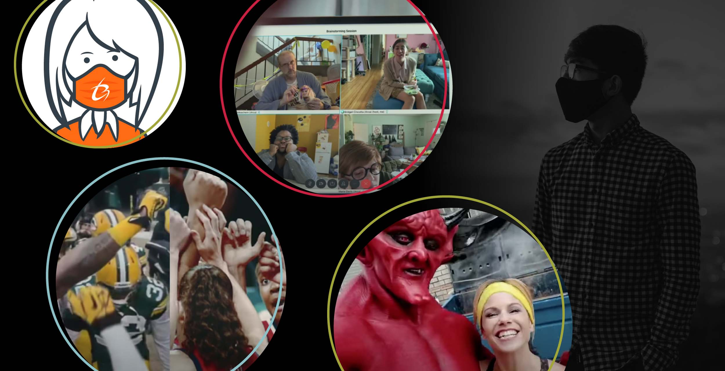 Various scenes of masks and video conferences as experienced in 2020