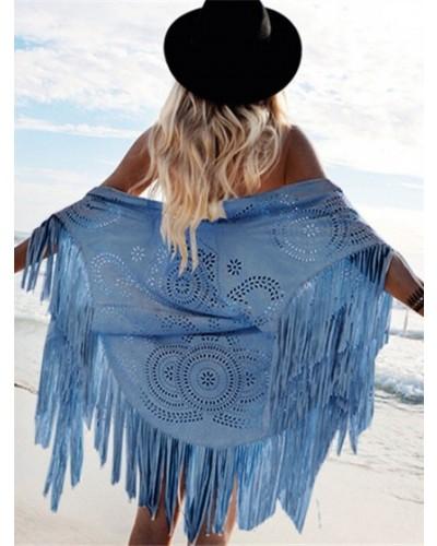 Châle bleu foulard à franges