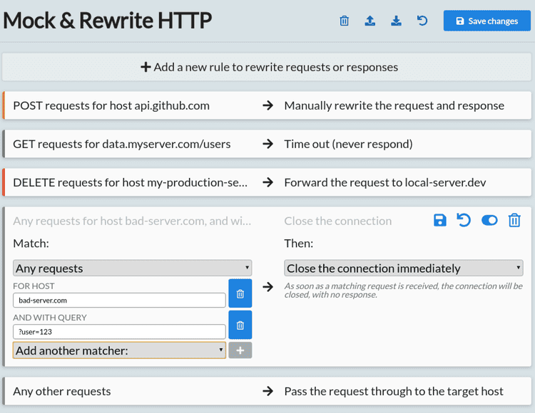 Match and rewrite HTTP with custom rules