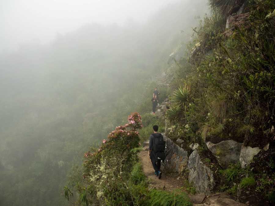 Hiking up Machu Picchu Mountain