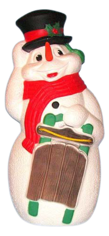 Snowman With Sled photo