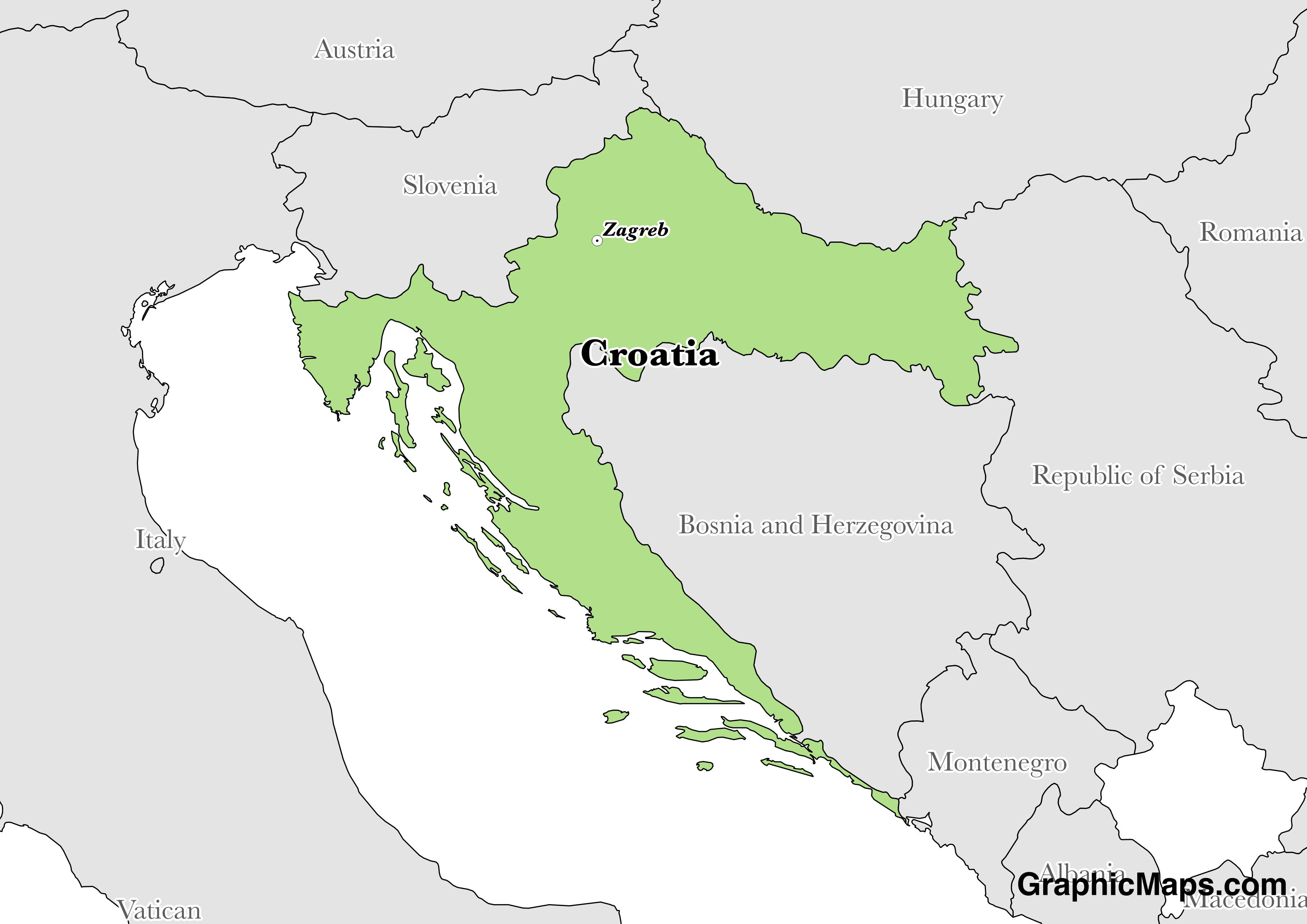Map showing the location of Croatia
