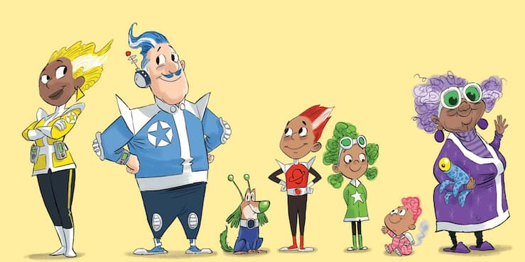 Cartoon of the Rocket Family in science fiction clothing