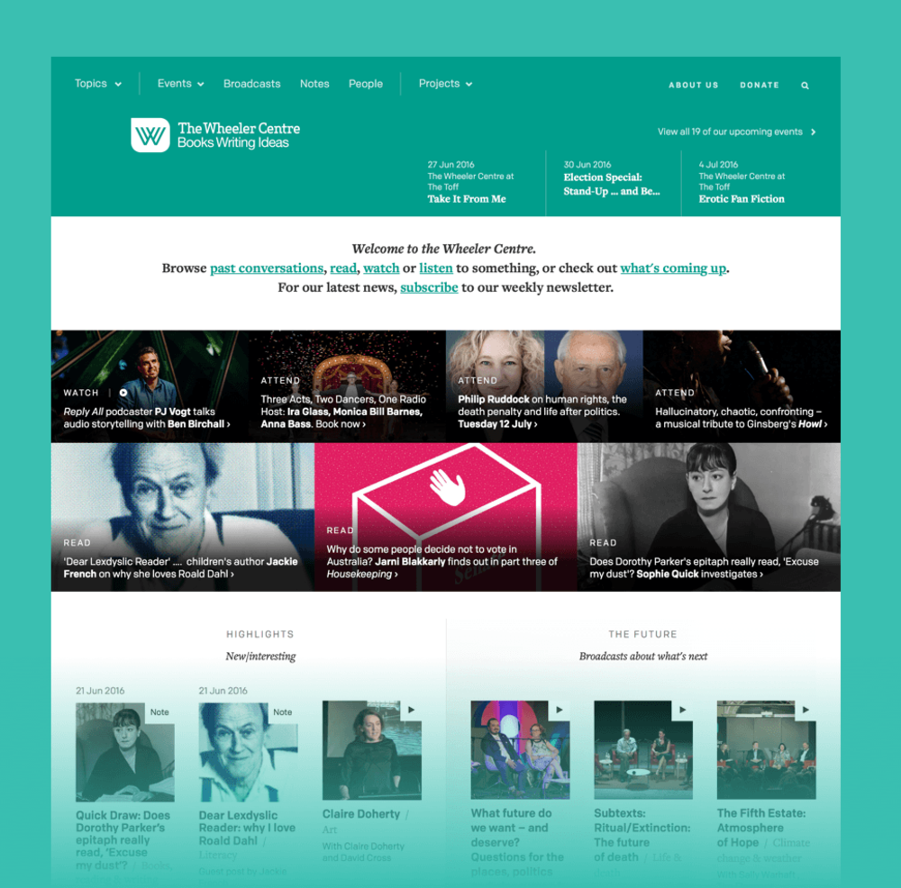 Section of the home page