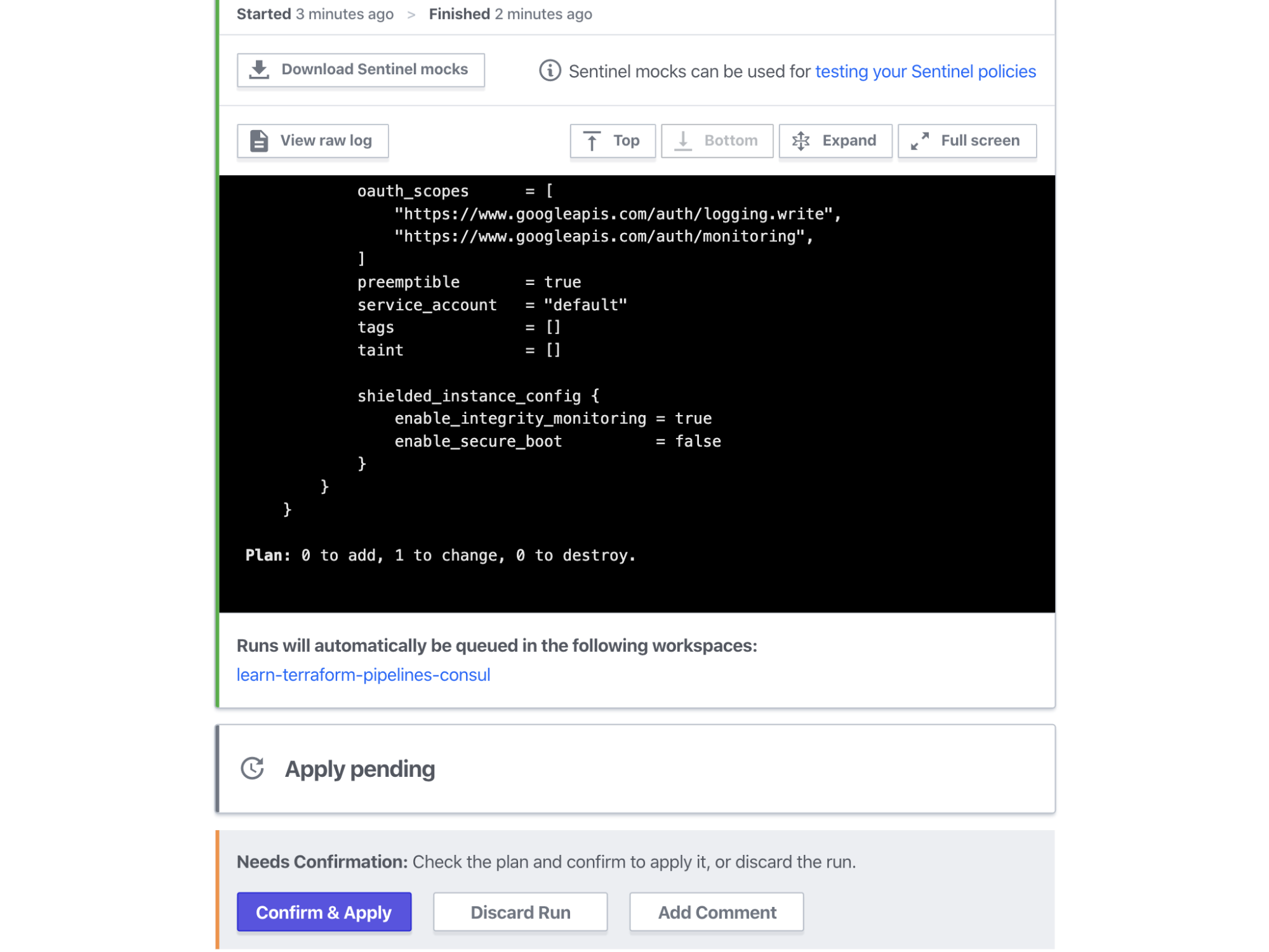 Terraform Cloud Kubernetes Workspace queued run with enable_consul_and_vault set to true. `learn-terraform-pipelines-consul` workspace will be listed under the run plan as a run trigger.