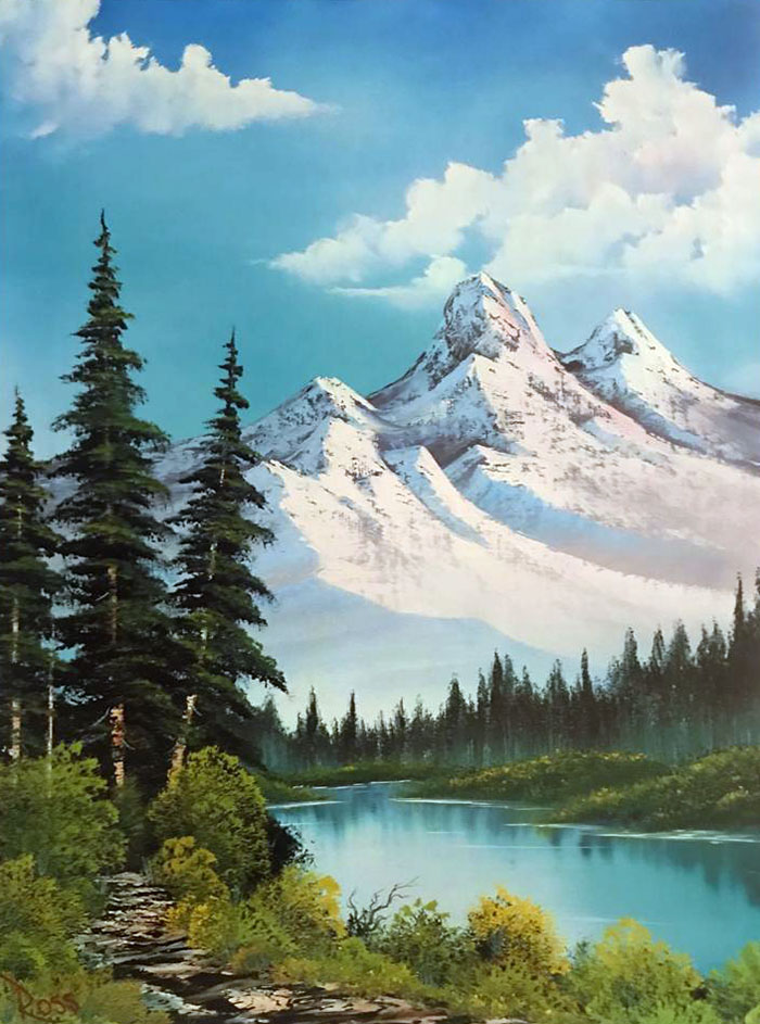 Distant Mountains workshop preview painting