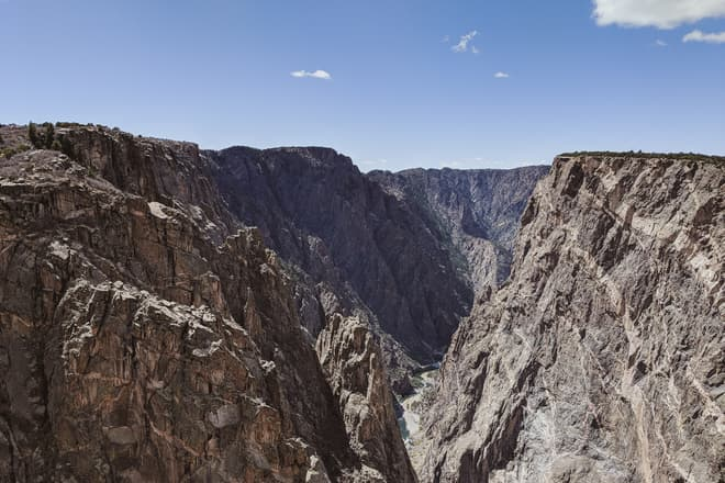 A view down the Gunnison, through the steep, broken walls of the Black Canyon.