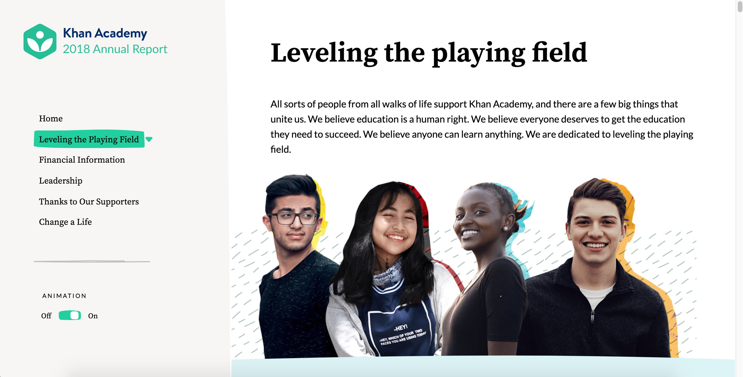 Khan Academy Annual Report screenshot of the 'Leveling the Playing Field' page.