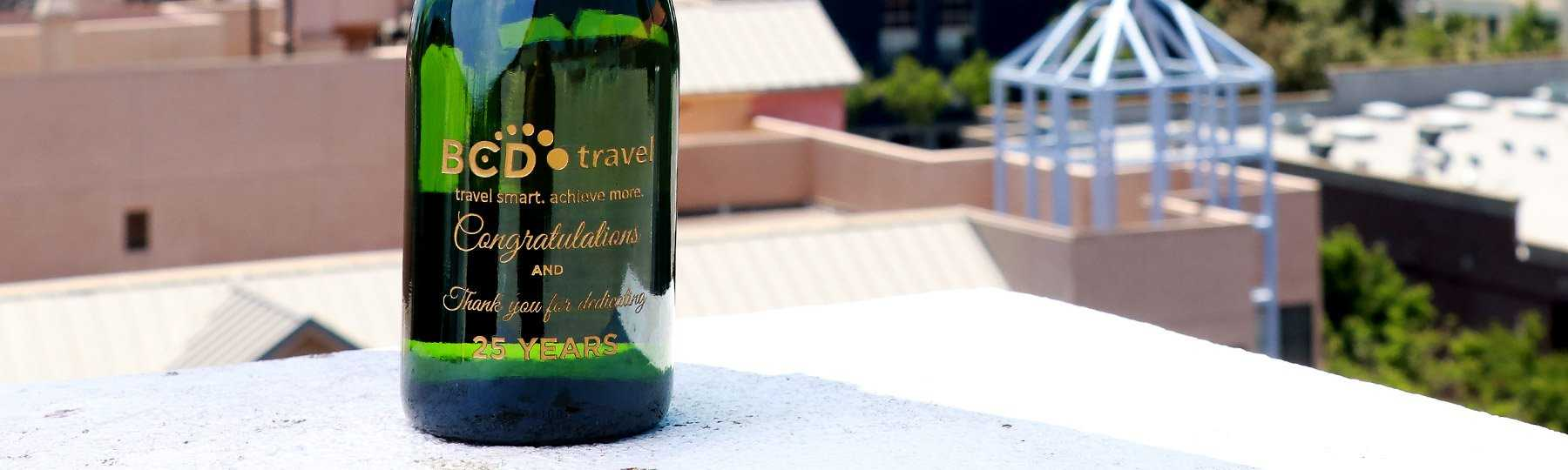 etched champagne bottle engraved corporate bottle
