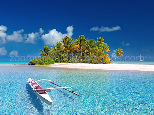 Novelty Virtual Background for Zoom on tropical island with wooden boat