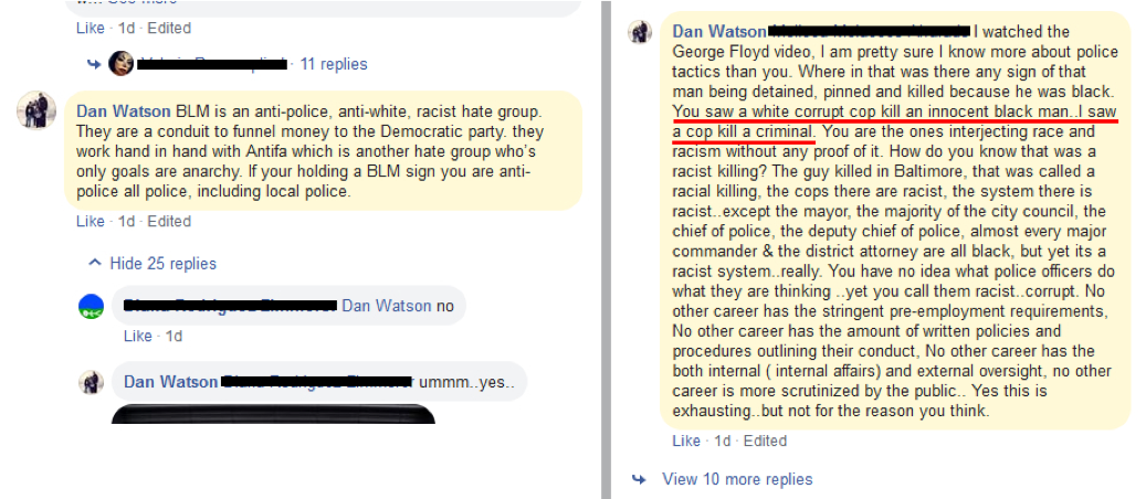 Screenshots of Watson's Facebook comments about George Floyd's murder and BLM