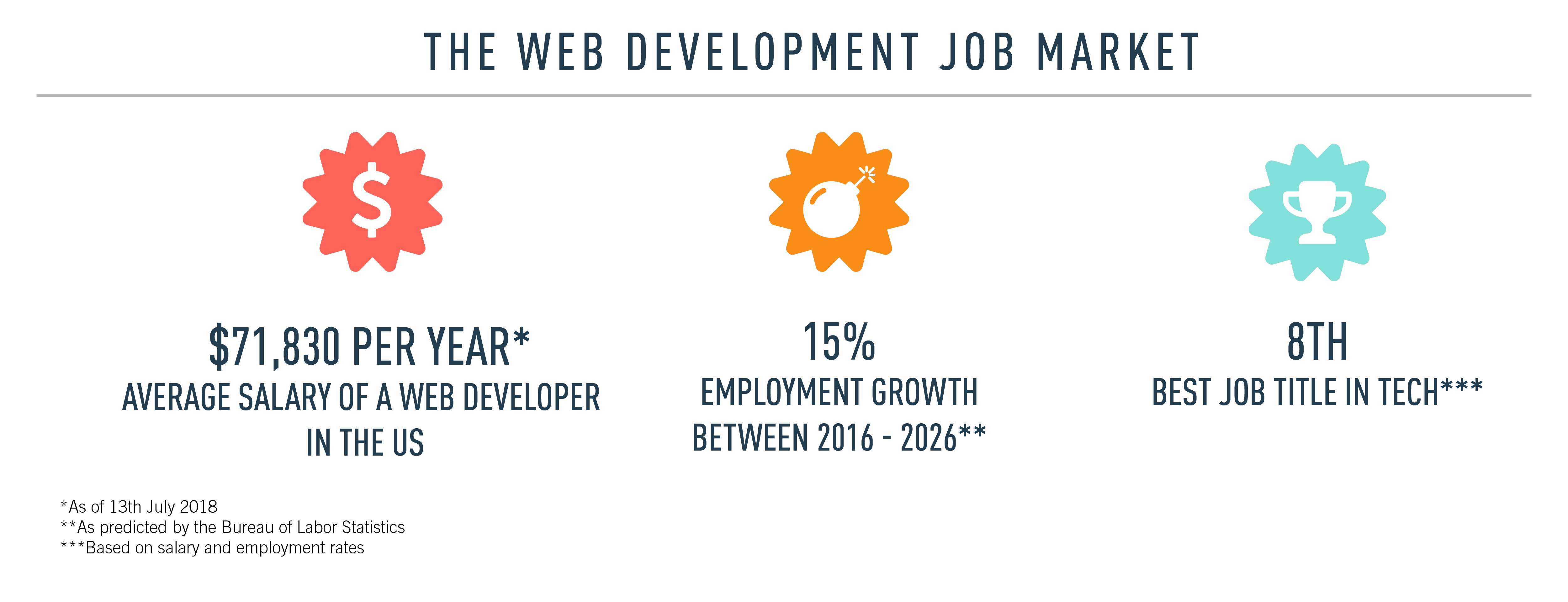 Infographic with statistics regarding the web development job market