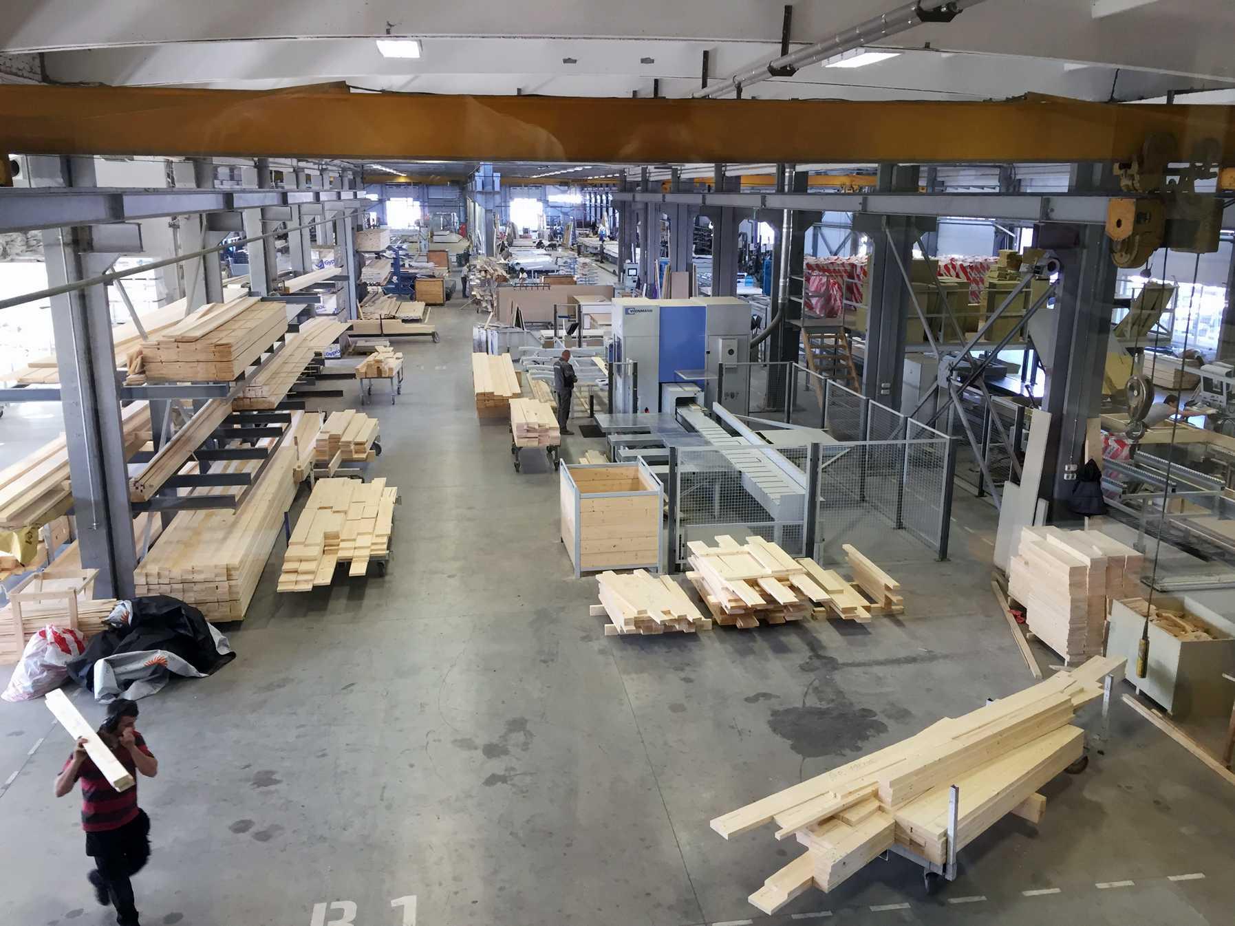 Bilde fra fabrikken hvor prefabrikkerte produseres