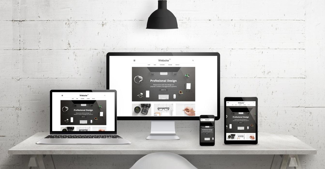 Creative desk scene for web design agency