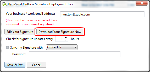 download signature now button